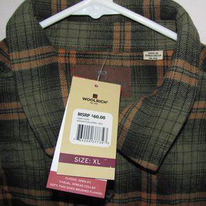 NWT Woolrich Green Orange Plaid Shirt Size XL